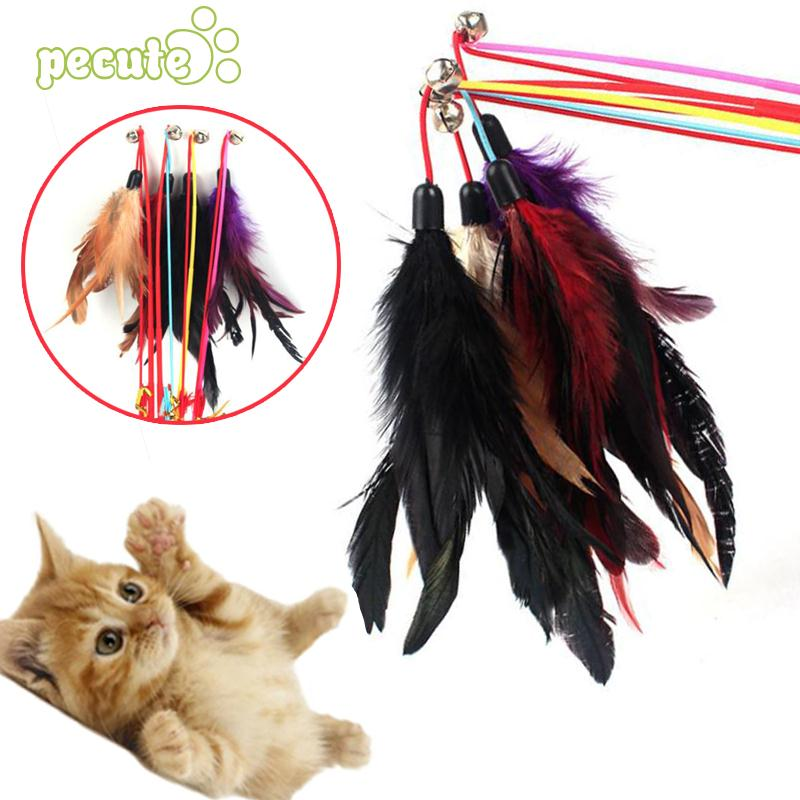 Cat Pet Dangler Bell Rod Wand Teaser Teasing Feather Games Toy Color Random.