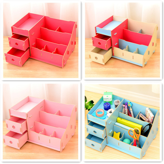 New Fashion Beautiful DIY Desktop Storage Organizer Box Bins DIY Wood Cosmetic Box With Draws  sc 1 st  AliExpress.com & New Fashion Beautiful DIY Desktop Storage Organizer Box Bins DIY ...