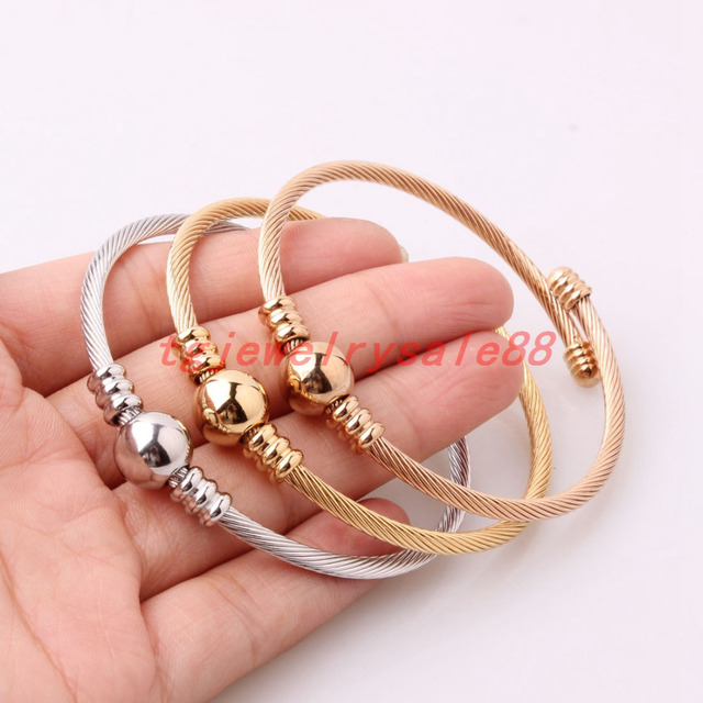 416516c05c6 Fashion 3pc/set Silver Rose Gold Color 3mm Twisted Cable Wire Bracelet  Charm Womens Lady Stainless Steel Cuff Bangle