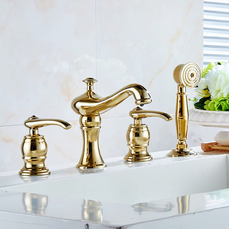 New Brass Deck Mounted 4 PCS Bathroom Bathtub Faucet Mixer Taps Cold Hot Water tap With Handheld Shower Head Chrome Gold 2310372 polished chrome handheld shower bathtub faucet set bathroom dual handle mixer taps wall mounted wtf901