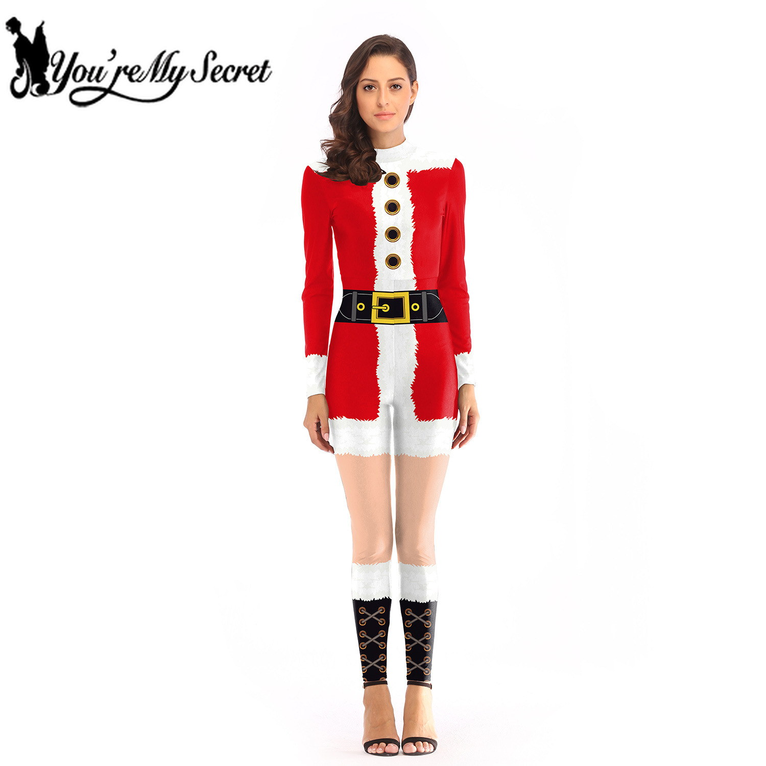 [You're My Secret] 2019 Winter Christmas Women's Holiday Santa Claus Jumpsuit Red Party Digital Print Costume for Adult Bodysuit