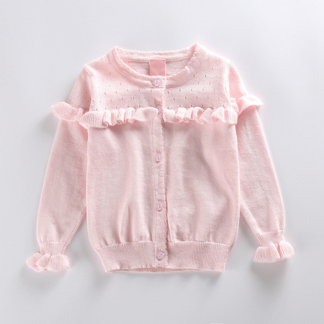 Niñas suéteres cardigan escudo 2-6 T chica chaqueta de punto para niñas marca invierno volantes chaqueta de punto para niños suéter de los cabritos 100% algodón