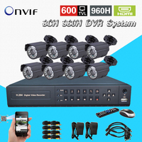8ch Security Waterproof Day Night Camera 8 Channel Cctv 960H D1 Recording DVR Video Surveillance System