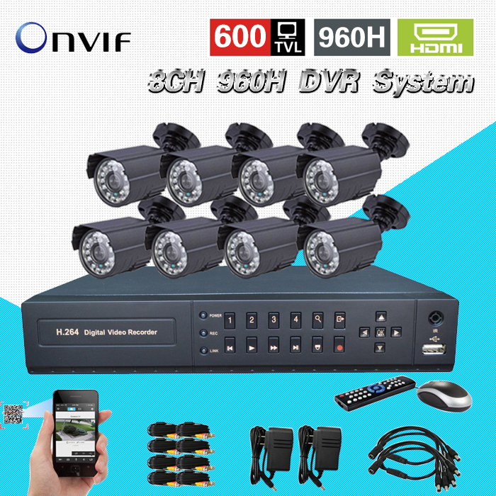 HD 8ch CCTV System Security waterproof day Night Camera 8 channel 960H D1 recording DVR video surveillance System kit HDMI 1080P