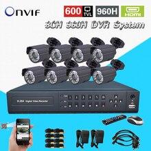 HD 8ch Системы ВИДЕОНАБЛЮДЕНИЯ Безопасности водонепроницаемые день и Ночь «8 канал 960 H D1 запись DVR Система видеонаблюдения комплект HDMI 1080 P