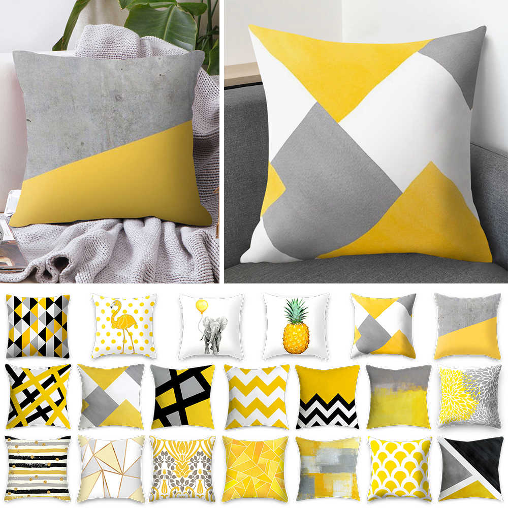 Yellow Polyester Striped Pillowcase Geometric Throw Cushion Pillow Cover Bedroom Office Printing Cushion Pillow Case 45x45cm