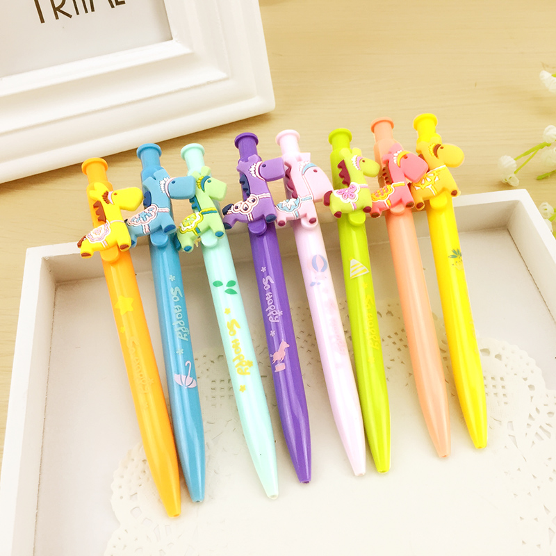 C46 4X Kawaii Cute Little Horse Press Gel Pen Writing Signing Student Stationery School Office Supply Pen Kids Gift 4x kawaii cute ghost gel pen writing signing tool school office supply student stationery 0 35mm kids gift