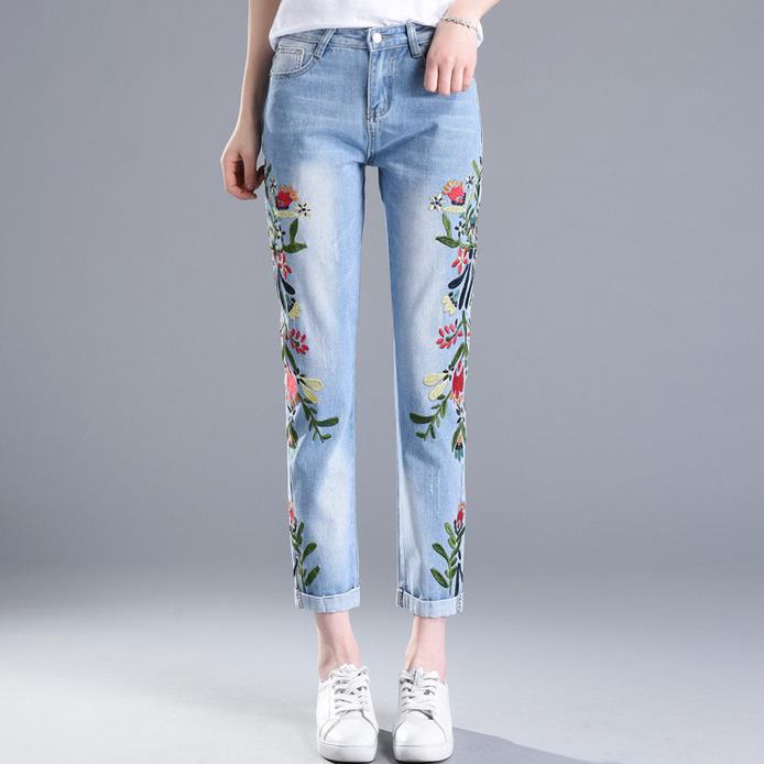2017 spring summer embroidery flowers large size jeans women's pencil pants