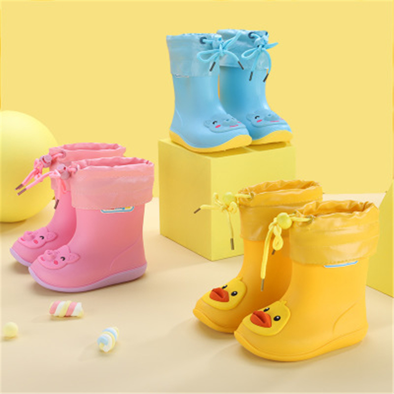 New Arrival Spring Autumn Children Rainboots Round Toe Slip-On Ankle Cartoon Leather Boots Comfortable Non-slip Snow Boots 02B