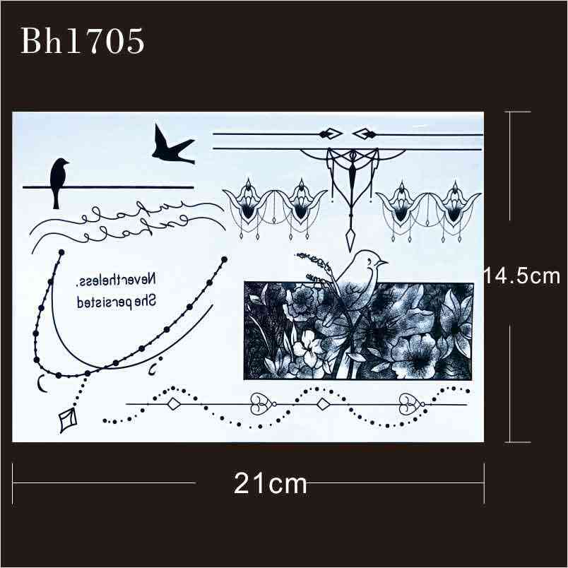 #BH1705  1 piece Elegant Bracelet Black Cuff Tattoo with Flower Wrist Strap, Arrow pattern Temporary Tattoo for Hands  Stickers