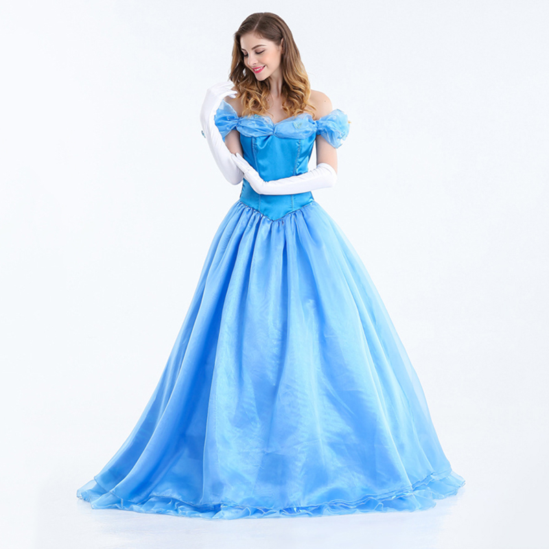 Home Halloween Cinderella Cosplay Costume For Women Adult Anime Princess Blue Long Dress With Bustle Party Performance Cloth To Win A High Admiration