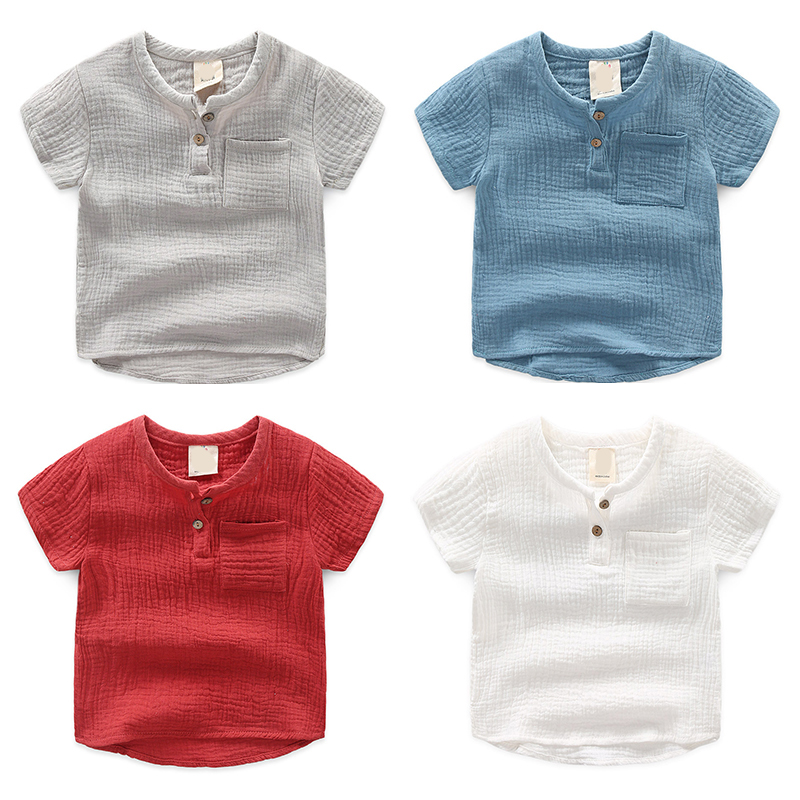 Girls Tshirts Short-Sleeve Summer Tops Linen Soft Baby-Boys Kids Cotton Children Solid title=