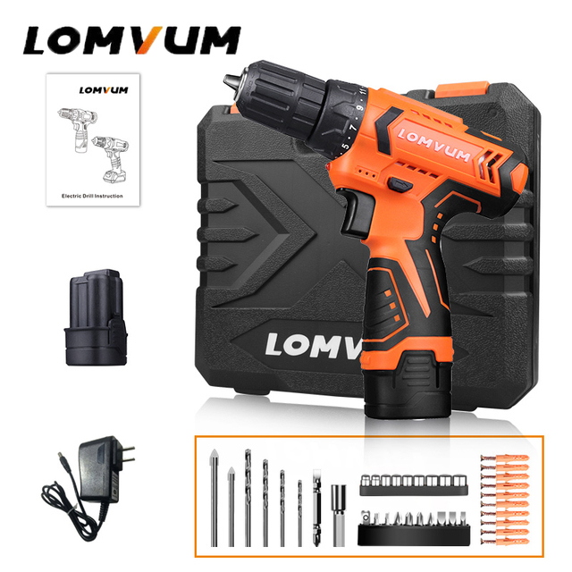 Lomvum Electric Screwdriver 21+1 Torque Power Tools 12/16/24V 2  Speed Cordless Drill Lithium Ion  Electric Drill 45 Accessories
