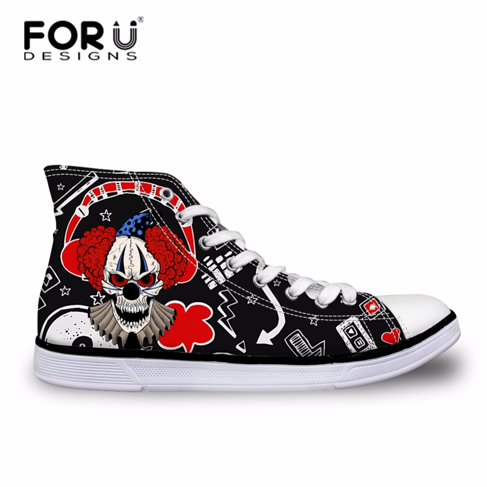 FORUDESIGNS Clown Pattern Black Women Canvas Shoes Low Flat Female Shoes Student High Top Vulcanized Shoes Spring Lace-up Shoes потолочная люстра n light box 314 08 53