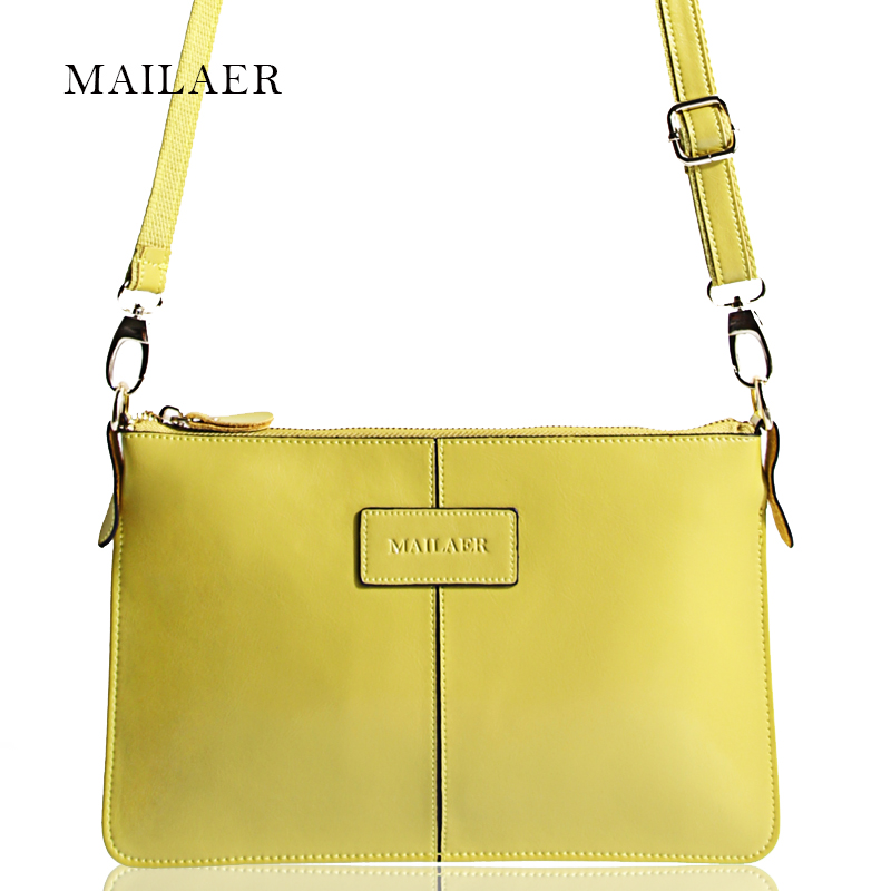MAILAER New Genuine Leather Women Messenger Shoulder Bag Clutch Leisure Mini Bag Simple Design High Quality Soft Touch