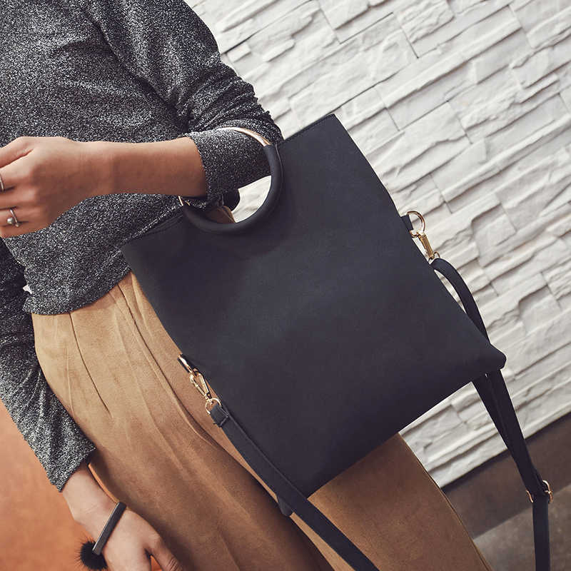 Bolso de mano de oficina para mujer bolso de mano sobre bolso de mano bolsos de mano de mensajero de muñeca 2019 bolso plegable de mujer vintage bolsos de cuero de gamuza