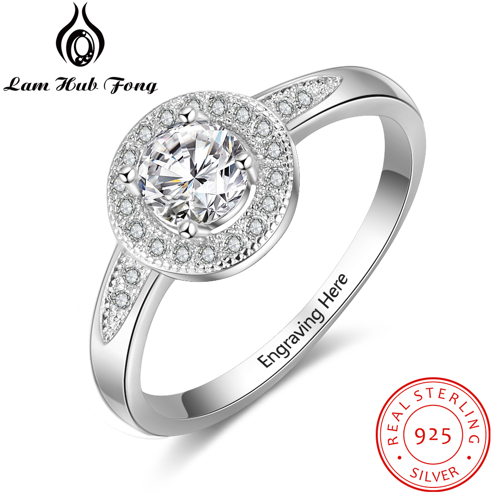 Personalized Cubic Zirconia Round 925 Sterling Silver Ring Customized Engrave Name Engagement Ring Gift For Women (Lam Hub Fong)