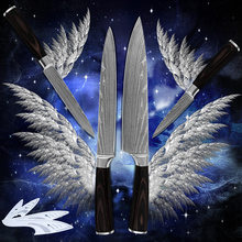7Cr17stainless steel four-piece set kitchen knives Damascus stlye cooking tools hot products 100% brand new color wood handle