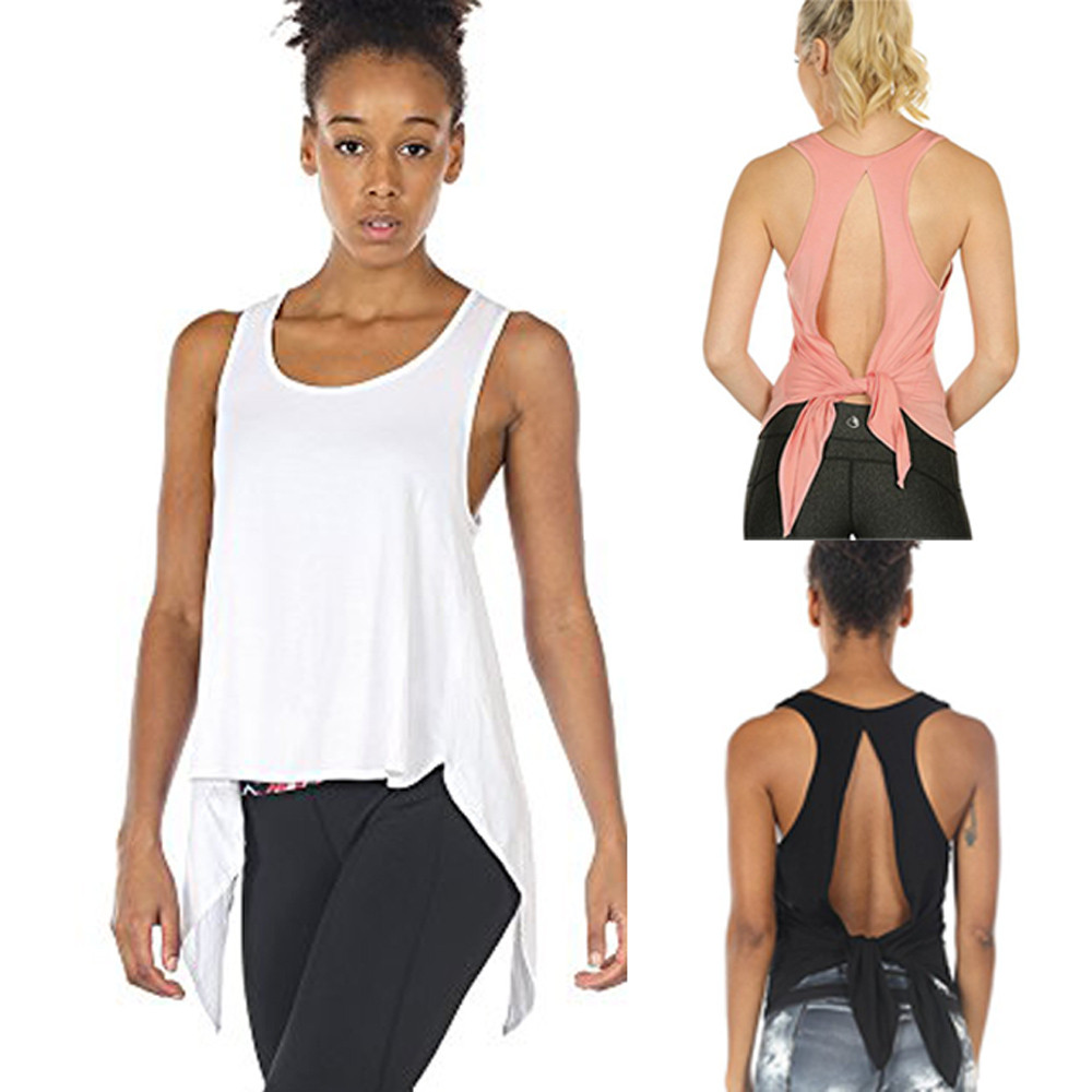 Women Sexy Fitness   Tank     Tops   Racerback Backless Sleeveless New Fashion 2018 Female Shirts in Black Orange White
