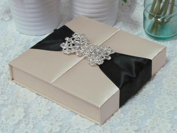 Item Code HI2014 Luxury Gate Fold Silk Box Wedding Invitation with – Luxury Wedding Invitations in Boxes