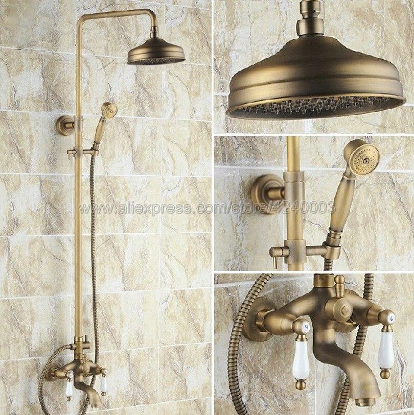 Antique Brass 8 inch Shower Head Bathroom Shower Faucet Sets Double Handles Mixer Tap with Tub Spout Krs004
