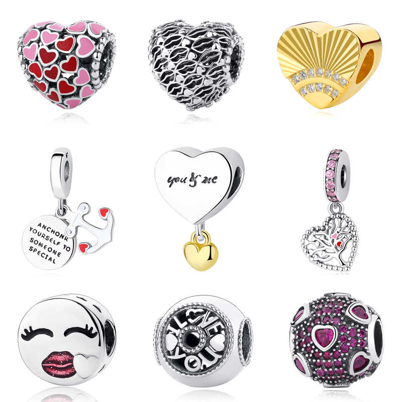 142016529 Authentic 100% 925 Sterling Silver Bead Charm Burst of Love Charms  Valentines Day Gift Fit