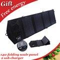 14 w dual usb a prueba de agua al aire libre portable plegable cargador de panel solar para el teléfono móvil | tabletas