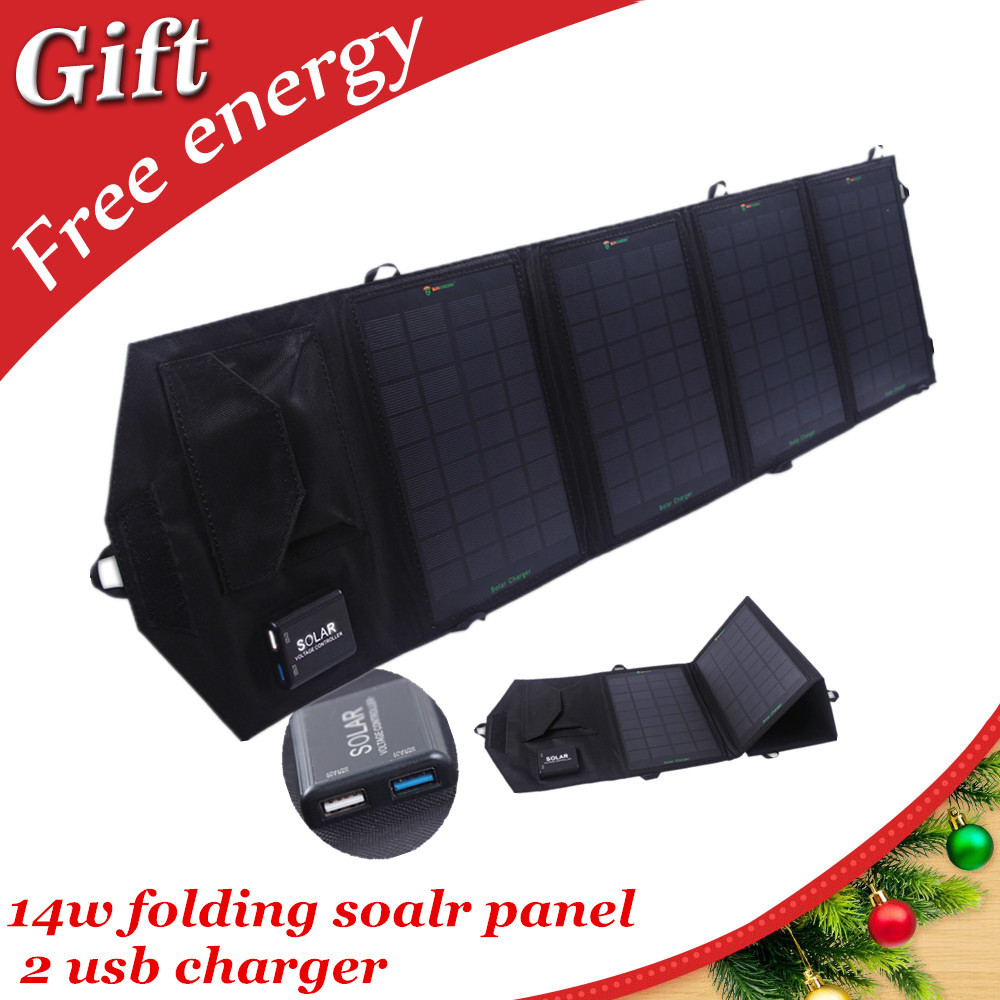 14w dual usb waterproof outdoor portable folding solar panel charger for mobile phone  tablets