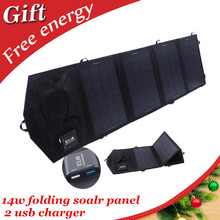 14w dual usb waterproof outdoor portable folding solar panel charger for mobile phone | tablets