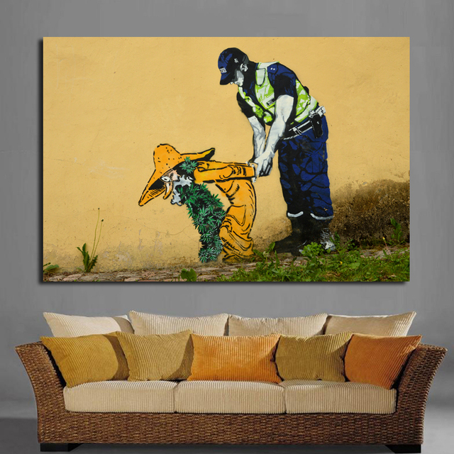 Modern graffiti decoration wall art picture canvas painting police and criminal art print for living room