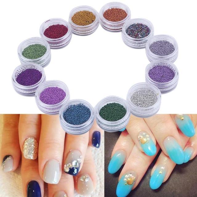 12 Colors Glitter 3d Nail Art Beads Sequin Diy Design Nail