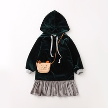 Everweekend Girls Ruffles Velvet Soft Autumn Winter Dress with Hats Vintage  Red and Blue Color Princess 3d262584ef9f