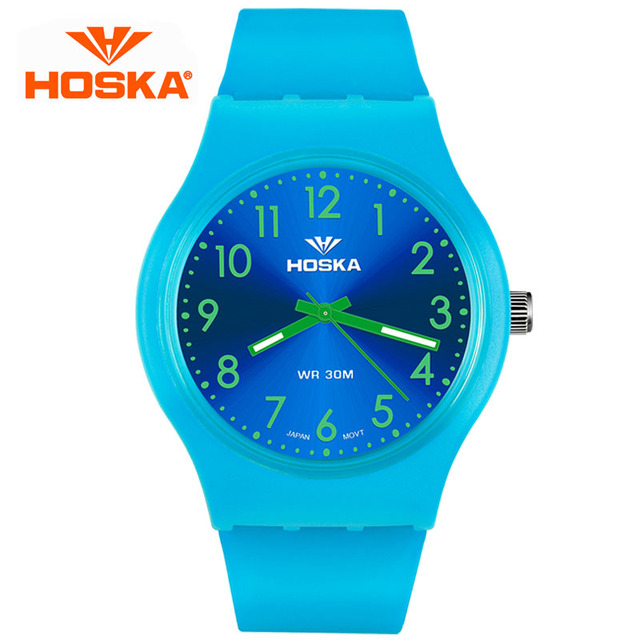 Fashion Casual HOSKA Brand Children Watches Quartz Watch Boy And Girl Student Multifunctional Waterproof Wristwatches Dive 30M