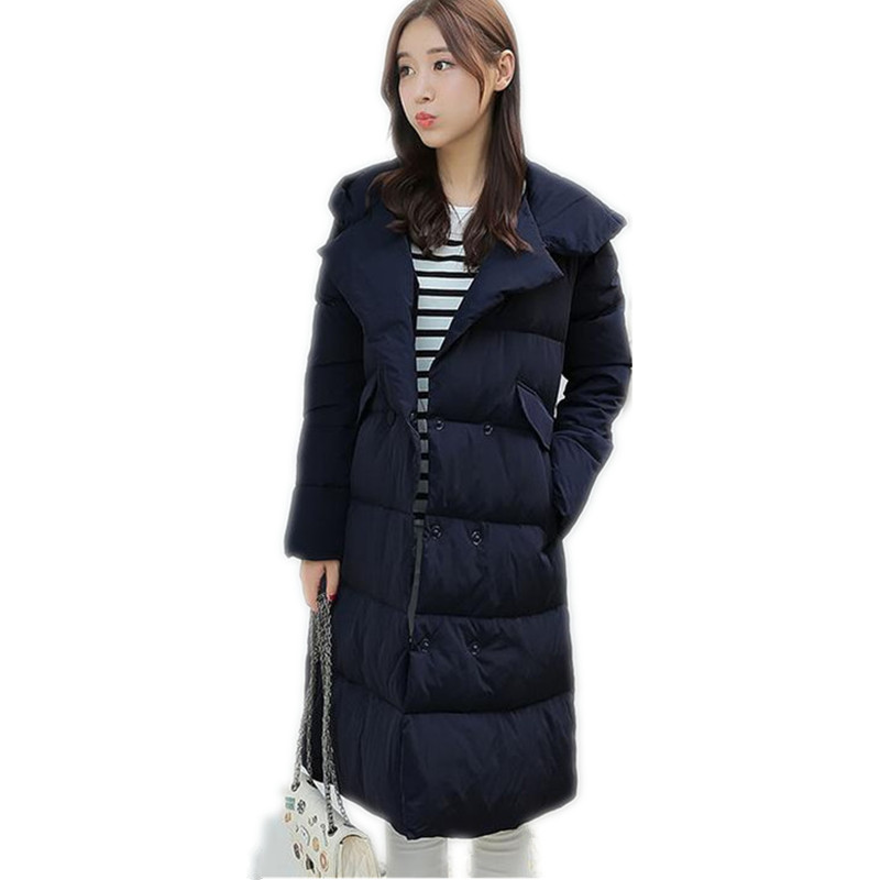 2017 New Fashion Winter Women Down Cotton Jacket Double Breasted Padded Hooded  Female Long Slim Warm Cotton Parka Hot SaleCQ071 2016 new warm winter coats for women european high end slim belt long double breasted lapel women s long down jacket winter