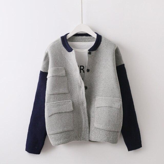 2017 spring autumn all-match fashion spell color knit cardigan sweater pockets female baseball jacket coat jaqueta feminina 896