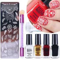 Maniküre Nail art Stempel Platte Werkzeuge Kit Gel Nagel Polnischen Set Schaber Stempel Blume Geometrische Nail art Starter SA797
