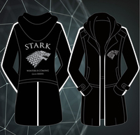 Free shipping TV Game of Thrones House Stark Adult Men Hoodie Zipper Coat Trench