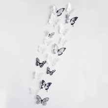 18pcs Black/White Crystal Butterfly Sticker Art Decal Home Decor Wall Mural Stickers DIY Decal Christmas Wedding Decoration Gift