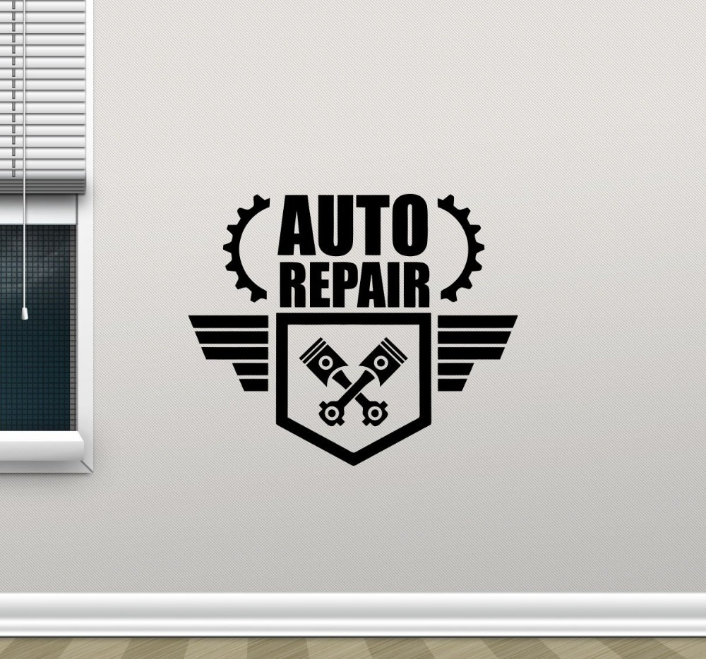 New arrival modern design auto car repair wall decal for Auto decoration shops in rawalpindi
