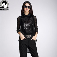 Europe Station Brand Design Black 2015 Autumn New Women Fashion Lace T Shirt 2 Sets Sequined