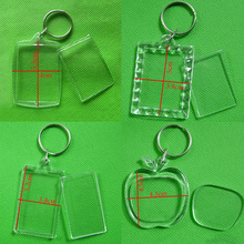 Acrylic Insert Photo Picture Frame Keyrings Keychain DIY Split Ring Key Chains Square Heart billboard Key Chains Handmade Gifts цена в Москве и Питере