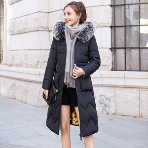 Image 3 - 両側身にすることができ2019新到着の女性の冬毛皮のフード付きでロング女性コート生き抜くプリントパーカー