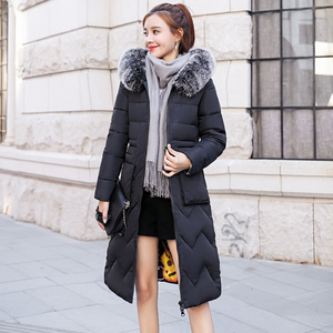 Image 3 - Both Two Sides Can Be Wore 2019 New Arrival Women Winter Jacket With Fur Hooded Long Padded Female Coat Outwear Print Parka