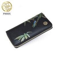 Pmsix Women Wallets Fashion Flower Print Genuine Leather Wallets Women Clutch Wallets Lady Vintage Clutch Bag