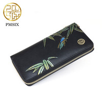 Pmsix Women Wallets Fashion Flower Print Split Leather Wallets Women Clutch Wallets Lady Vintage Clutch Bag Coin Purse Women