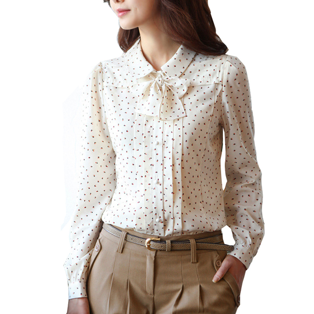 Korean Style Womens Autumn OL Blouses & Shirts Polka Dotted Peter Pan Collar Bow Long Sleeved Single Breasted Chiffon Top Blouse