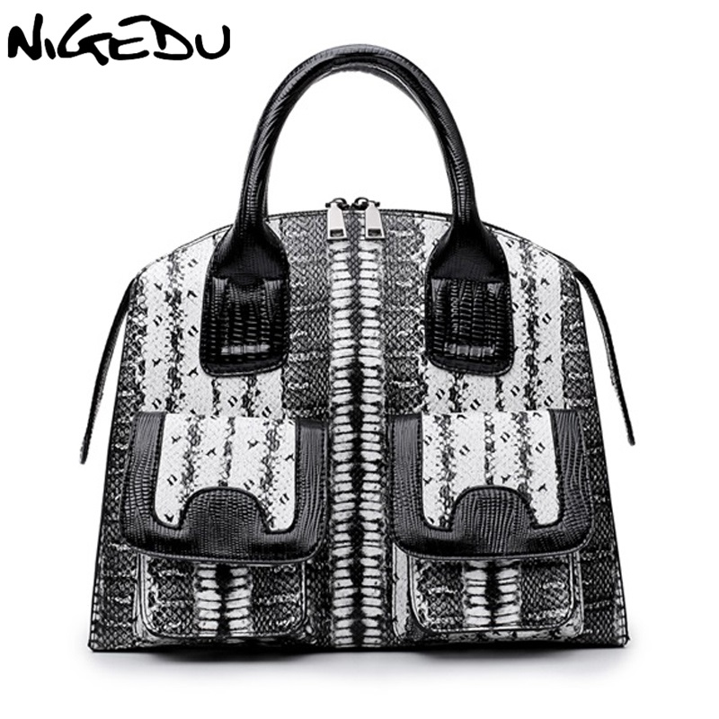 NIGEDU Brand Luxury Snake Pu Leather Handbags for Women Shoulder bag Famous Designer Women's Totes Big Elegant lady office bag lydian women classic luxury pu leather smiling face bag black handbags bat wings lady smiley totes phantom famous purse clutches