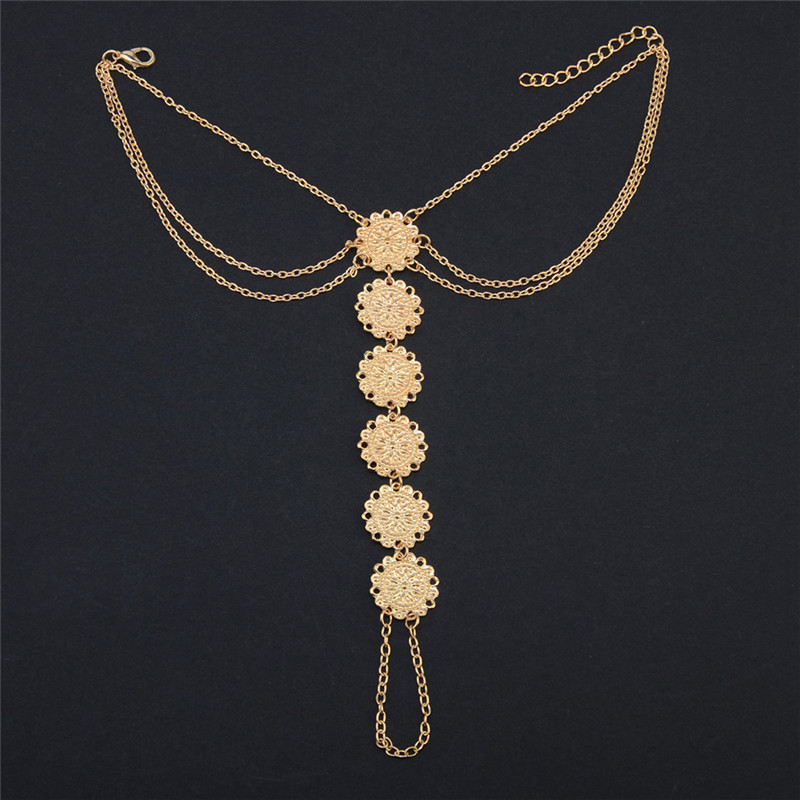 Summer Ankle Bracelet Round Carving Flower Coins Anklet Barefoot Sandals Foot Jewelry Anklets for Women to Beach 1pc,Golden