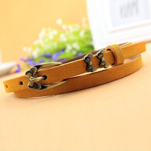 Korean version of the classic wild female minimalist thin belt pigskin leather womens belts for women nice strap female