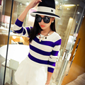 En la primavera de 6114 de Las Nuevas Mujeres Coreanas suéter de rayas camisa